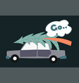 car with pine tree on top preparation for vector image
