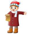 cartoon boy singing christm vector image vector image