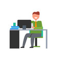 cheerful businessman sitting at desk vector image vector image