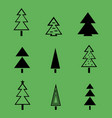 christmas tree with decorations on green vector image vector image