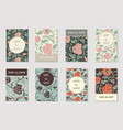 collection 8 greeting invitation cards vector image