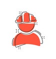 construction worker icon in comic style factory vector image vector image