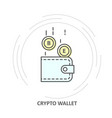 crypto wallet icon - coins drop into vector image vector image
