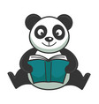 cute panda bear sits and reads book in hardcover vector image