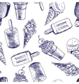 Doodle Ice cream seamless background vector image vector image