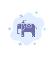 elephant animal blue icon on abstract cloud vector image vector image