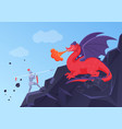 fantasy battle fight knight and dragon heroic vector image