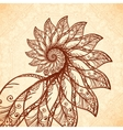 feathers spiral in henna tattoo style vector image vector image