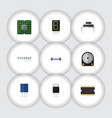 flat icon appliance set of memory hdd vector image vector image