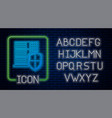 Glowing neon server with shield icon isolated on