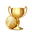 golf award golf ball golden cup sports vector image vector image