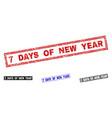 grunge 7 days of new year scratched rectangle vector image vector image