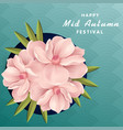 happy mid autumn festival pink flower blue backgro vector image vector image