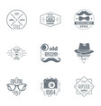 hipster logo set simple style vector image