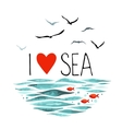I Love Sea with seagulls waves and red fish vector image