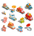 isometric cars fast delivery vector image