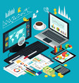 isometric view business desktop vector image vector image