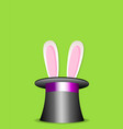 magic trick rabbit in black cylinder hat vector image