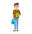 male student teenage schoolboy freshman in glasses vector image vector image
