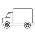 monochrome silhouette of truck with wagon vector image vector image