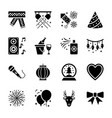 new year glyph icons collection vector image vector image