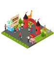 outdoor zoo with wild animals concept 3d isometric vector image