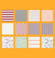 pattern set stripe seamless design for wallpaper vector image