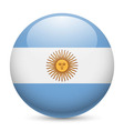 Round glossy icon of argentina vector image vector image