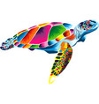 sea turtle from multicolored paints splash vector image