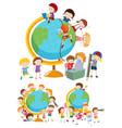 set of children and globes vector image vector image