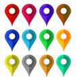 set of colorful markers map marker icons flat vector image
