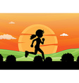 Silhouette running vector image