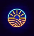 sun field neon sign vector image vector image
