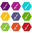 sword icons set 9 vector image