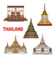 thai travel landmark icons buddhist temple vector image vector image