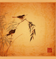 two little birds sitting on bamboo branch on vector image vector image