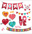 valentine doodle and decoration banner set vector image