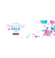 valentines banner sale promo with sweet heart vector image