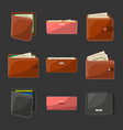 various leather purses and wallets set vector image vector image