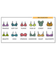 woman bra types collection icons of fashion vector image