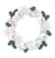 wreath christmas balls fir twigs snow-flakes vector image
