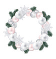 wreath of christmas balls fir twigs snow-flakes vector image