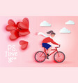 young woman riding bicycle and holding red heart vector image