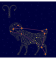 Zodiac sign Aries over starry sky vector image vector image
