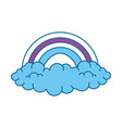 rainbow with clouds icon vector image