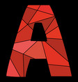 a red alphabet letter isolated on black background vector image