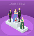 awards ceremony isometric composition vector image vector image