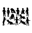 baby crawling silhouettes vector image
