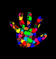 baby hand with colorful hand prints pattern vector image vector image