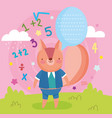 back to school cute squirrel talk bubble numbers vector image